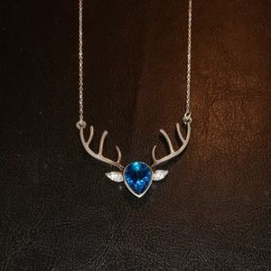 "20"" Silver Antlers Necklace w/ Blue &Clear Stones"